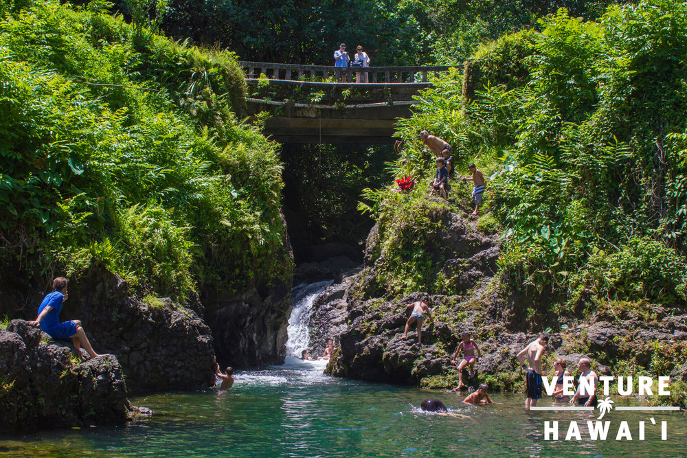 Ching's Pond - Popular local swimming hole! Had to make the quick stop while driving through Hana.