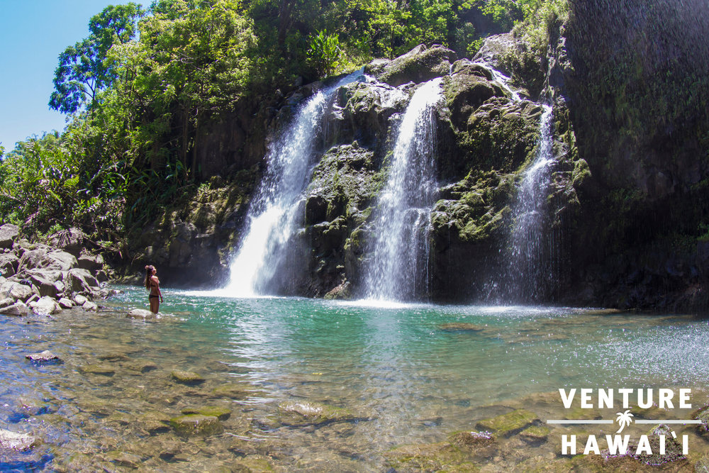 Upper Waikani Falls - Also known as Three Bears. By far our most favorite stop in Hana!