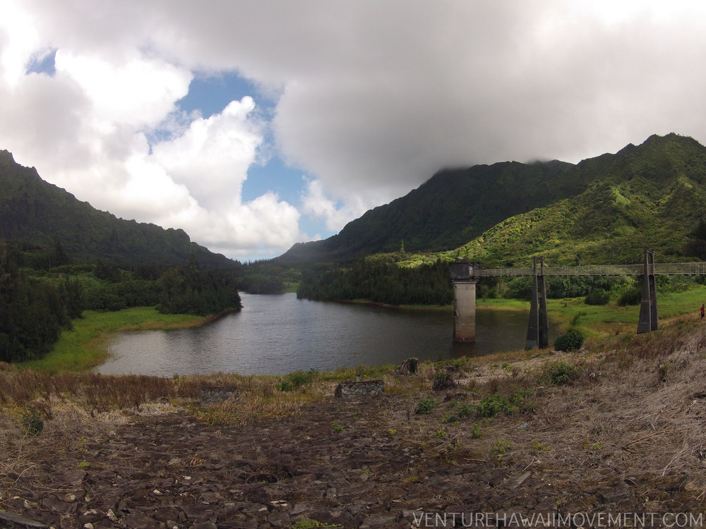 Nu'uanu Reservoir - Nu'uanu Reservoir was build between 1890-1910. Four reservoirs were built, one with a water tower (picture above) to control water levels. After World War II freshwater game fish was introduced to Hawai'i. The first opening of catching game catfish was July 5-6, 1969. Oahu, Hawai'i.