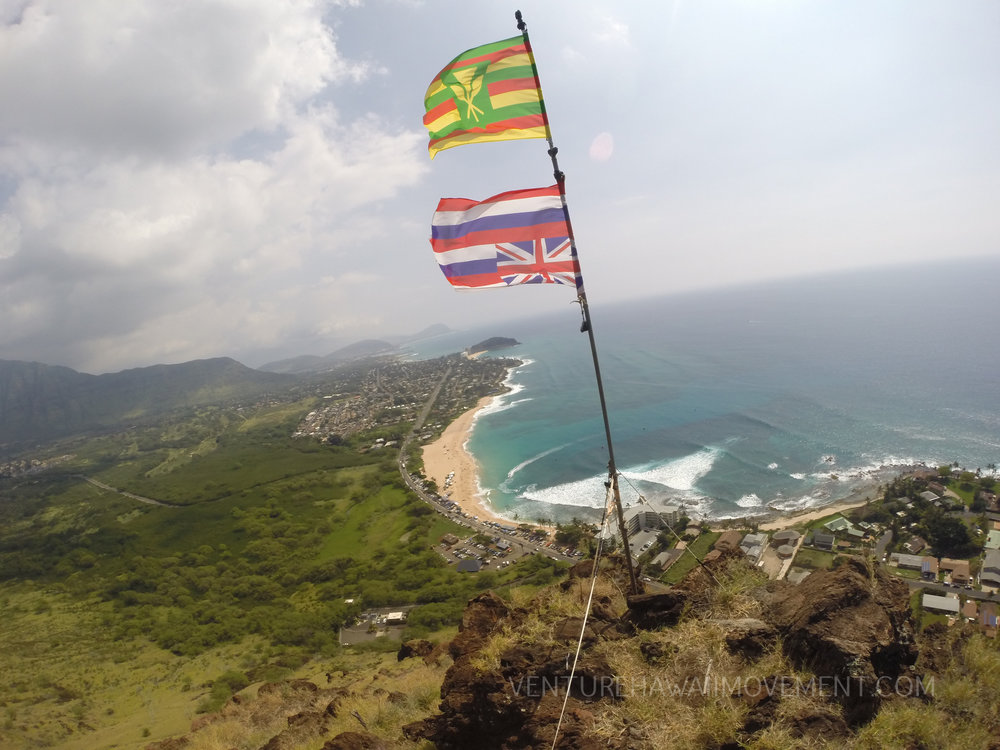Makaha Flag Pole  - The Makaha Flag pole holds the Hawaiian flags in the wind high above Makaha Beach Park.