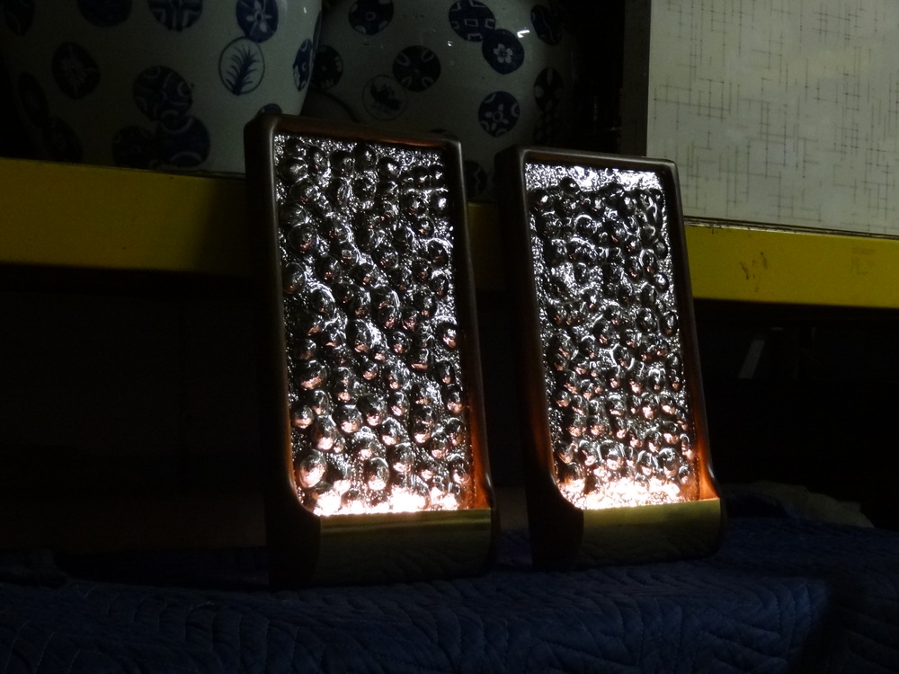 Pair of Portal Sconce specially wired with battery pack LED lights for Harry Heissmann's use in a showhouse/