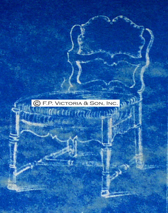 The reference sketch from the Victoria & Son Design Archive for a side chair made for Mrs. Mellon