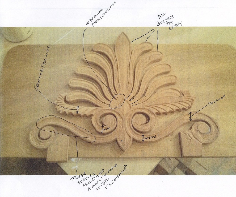 An initial carving model with notes