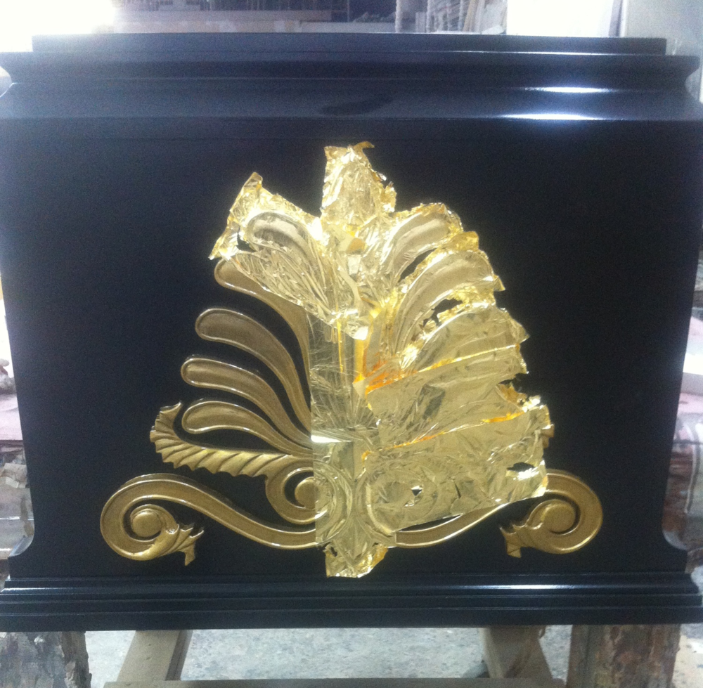 Gold leaf finishing in-process