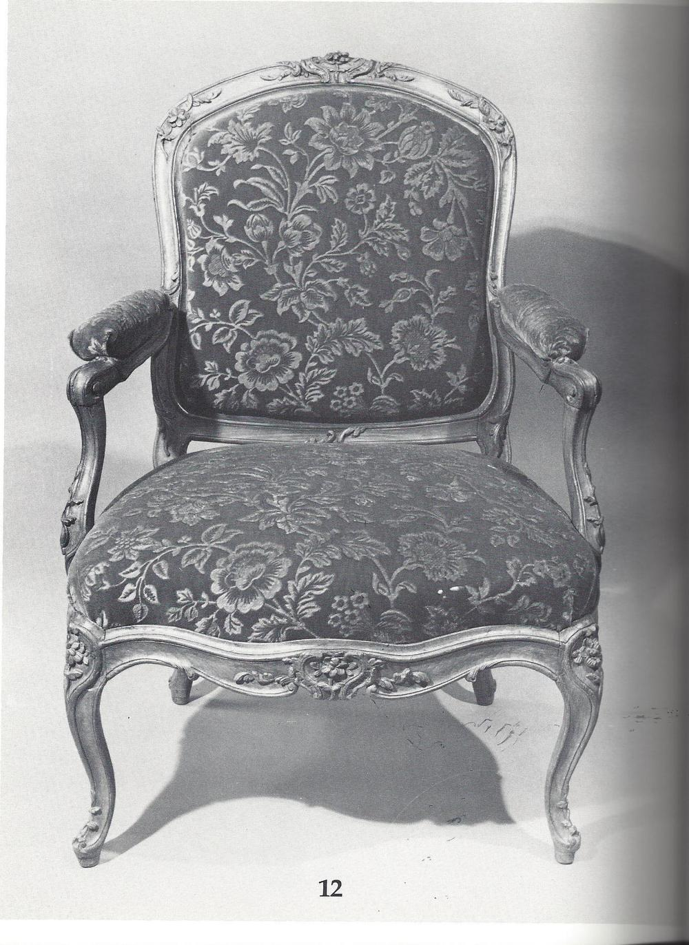 "A Louis XV fauteuil a la reine circa 1748 by Jean-Baptiste Gourdin featuring removable ""en chassis"" upholstery. Plate 12 from The Master Chair-Makers Art."
