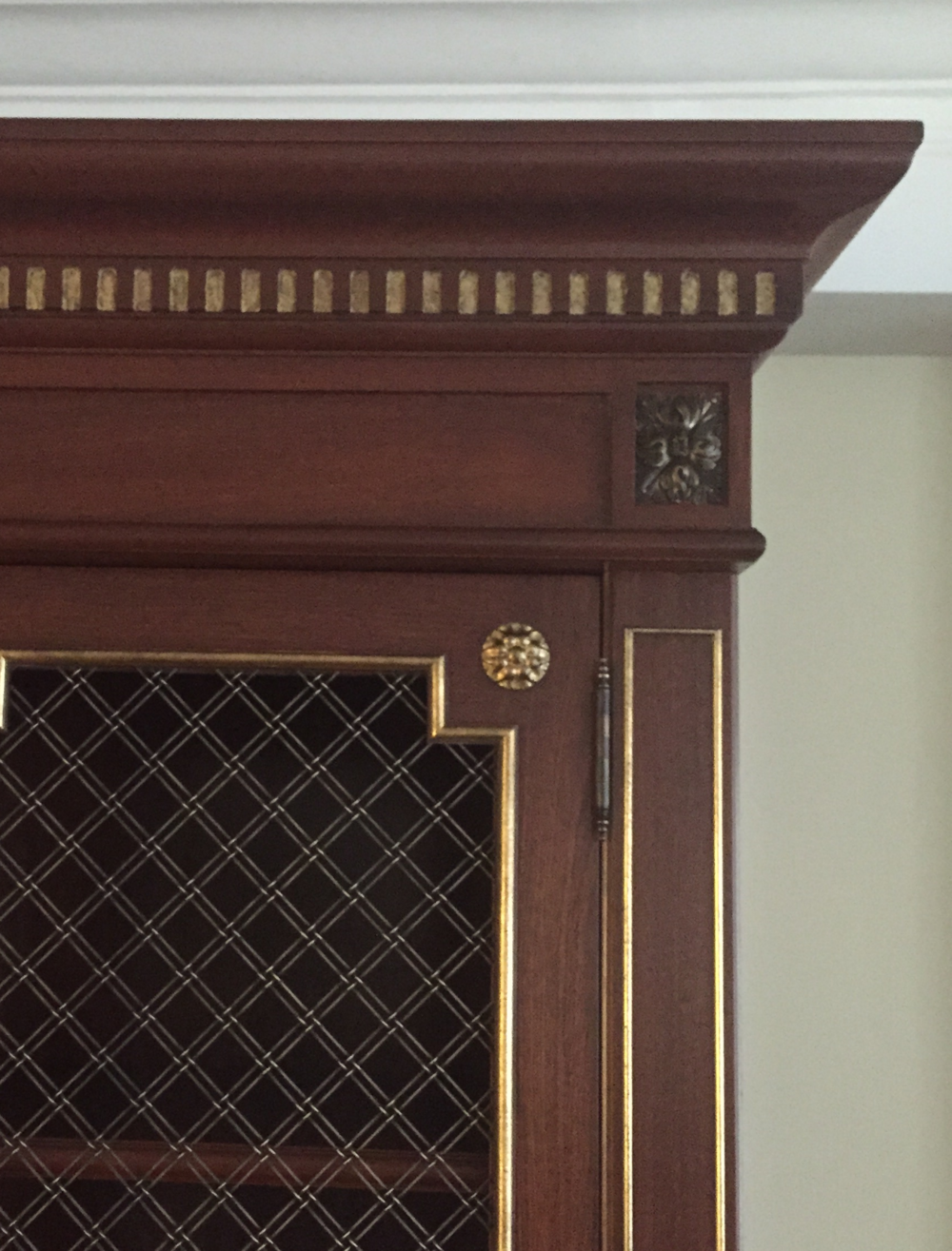 A detail of the finish and custom cast brass rosettes. Victoria & Son