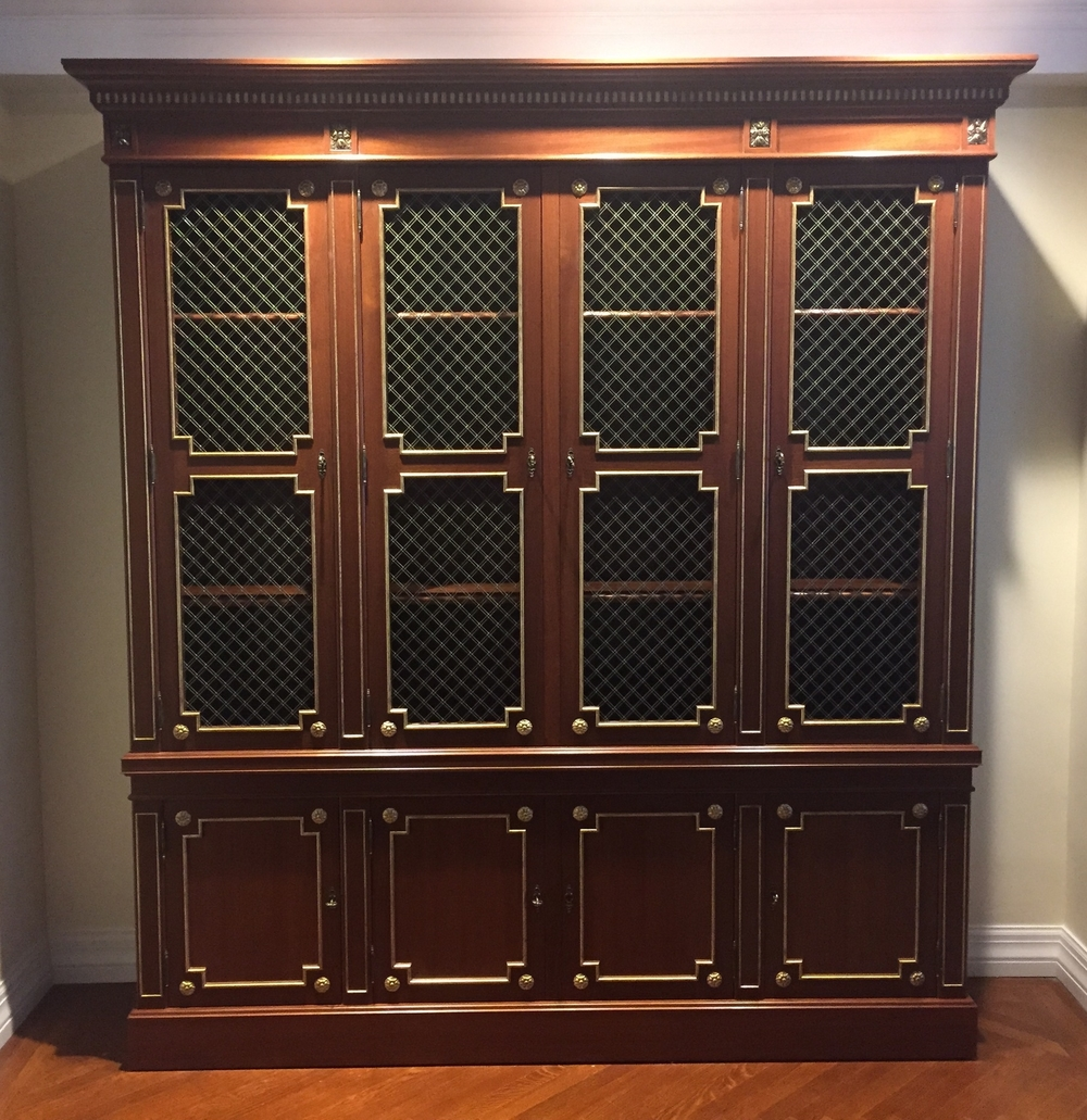 Custom Louis XVI style bookcase, Victoria & Son model R650, for Warp Design
