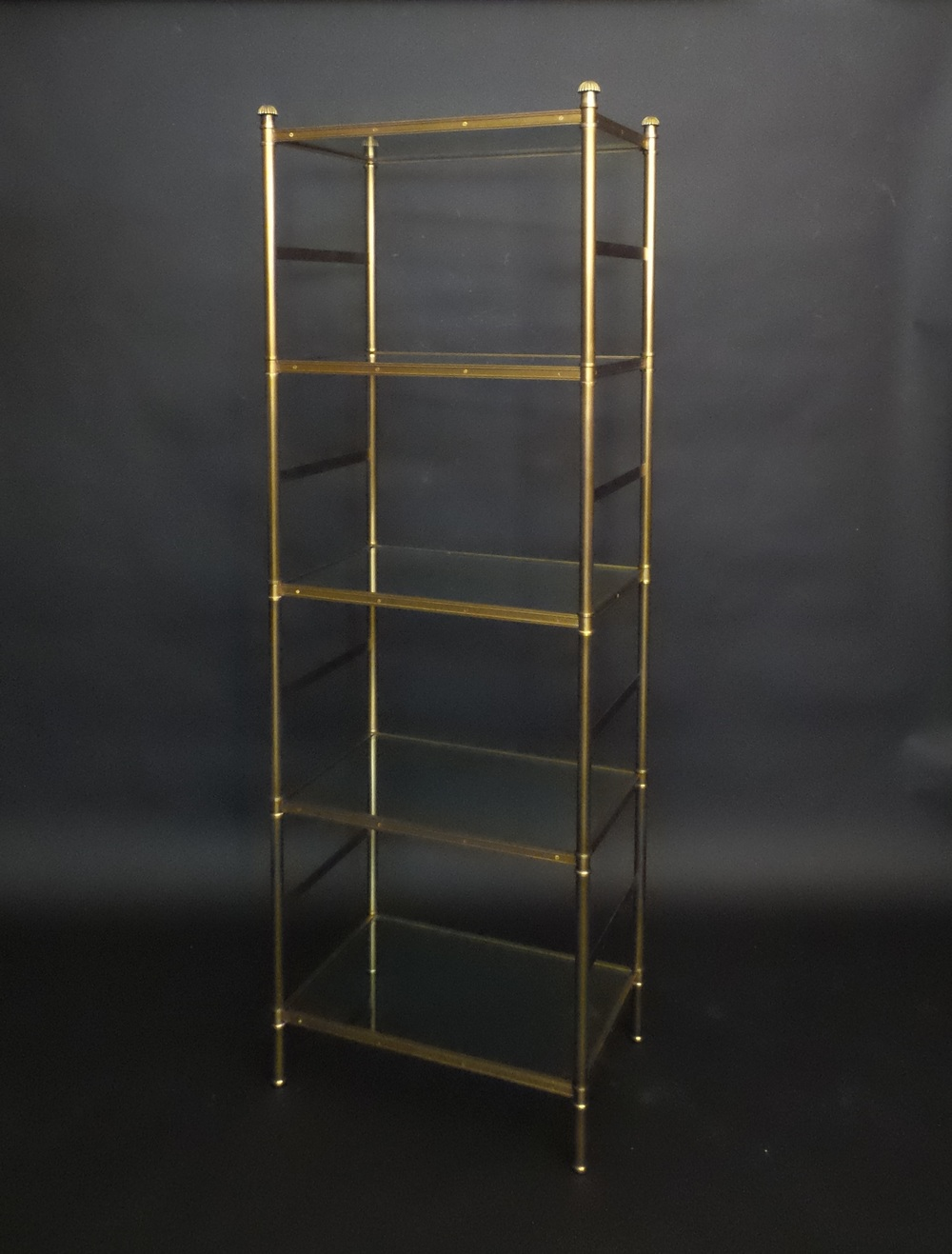 Cole Porter etagere with glass shelves by Victoria & Son