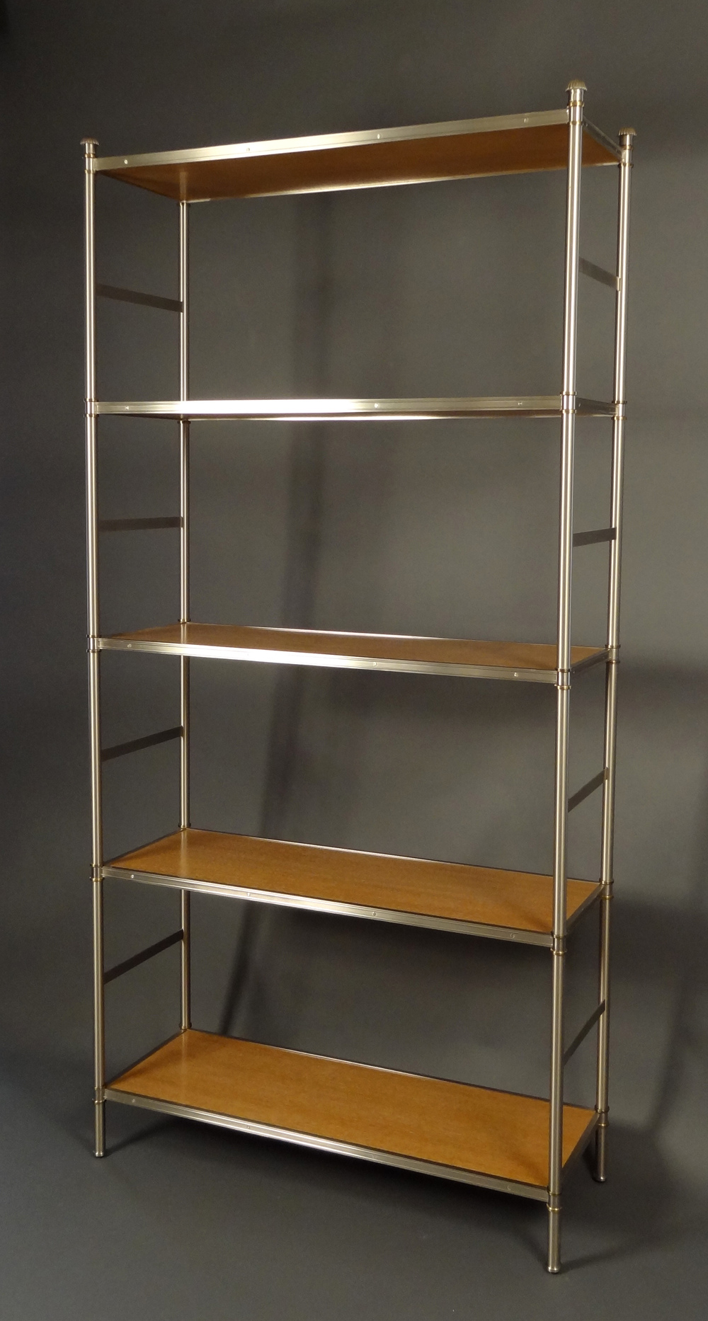 Cole Porter etagere in brushed nickel with brass details by Victoria & Son