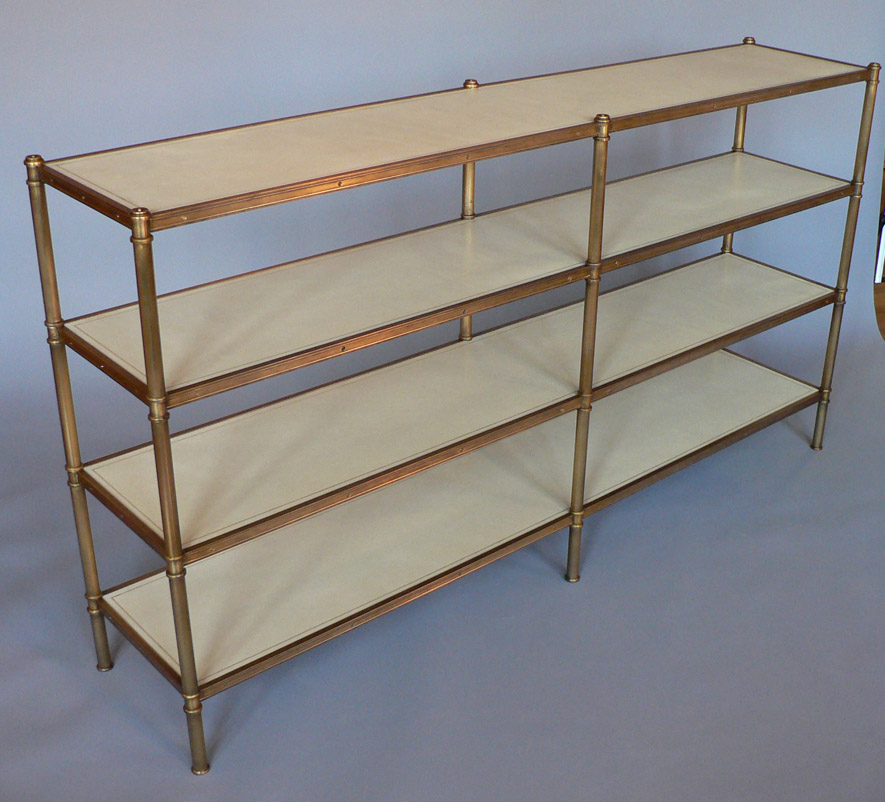 Low Cole Porter etagere with 6 legs and leather covered shelves by Victoria & Son