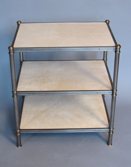 Cole Porter side table in antiqued nickel with brass details by Victoria & Son