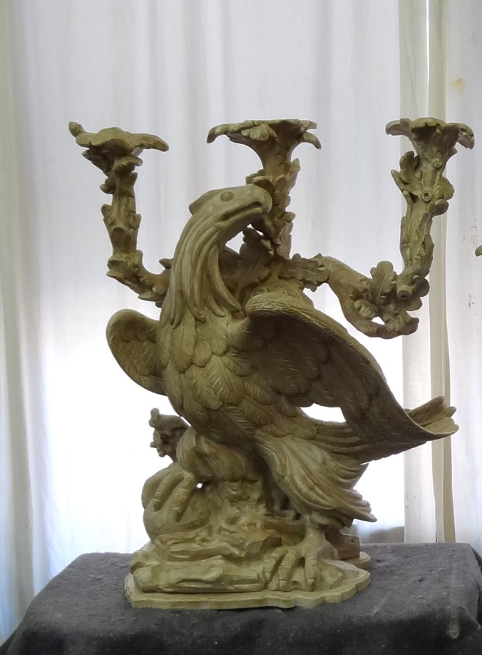 A carved eagle form console base by Victoria & Son, based on our model inspired by eagle form torcheres from Versailles, also not shown in the article.