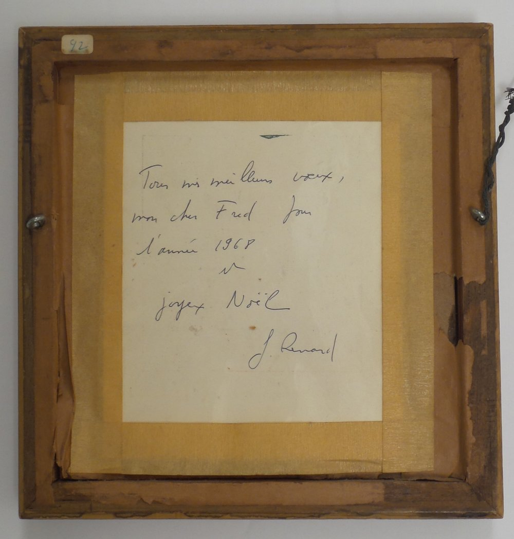 The inscription of the preceding work, from Tony Victoria's collection