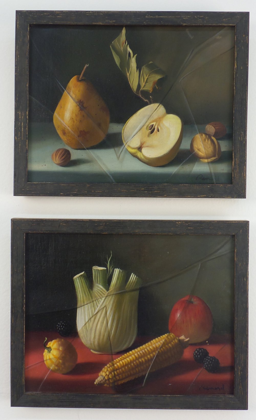 Two works by Fernand Renard for Fred Victoria, oil on canvas, circa 1955, from Tony Victoria's collection