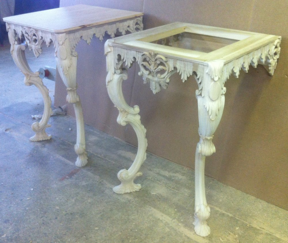 Hand carved Chippendale style consoles for M Group by Victoria & Son