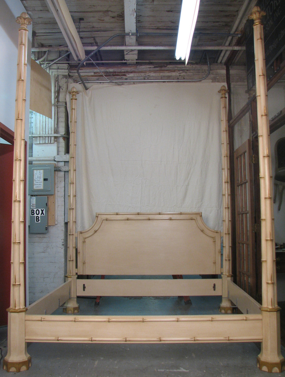 A Bamboo Cluster bed for Albert Hadley in studio prior to installation, 2010.