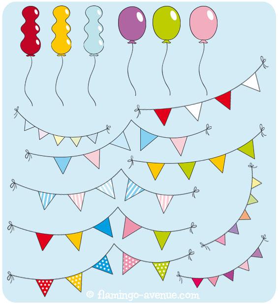Inhalt - Freebie: Ballons & Wimpel
