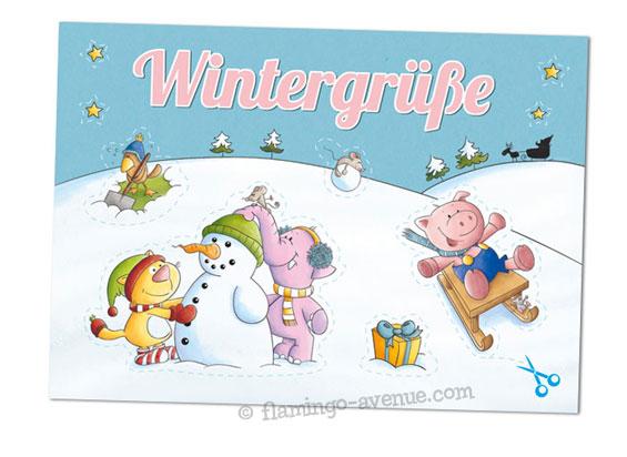 Aufkleber-Postkarte Wintergruesse