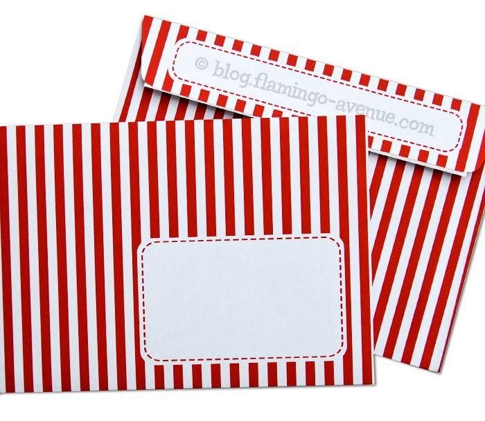 Rot-weiß gestreifte Briefumschläge von Joki Papierkram
