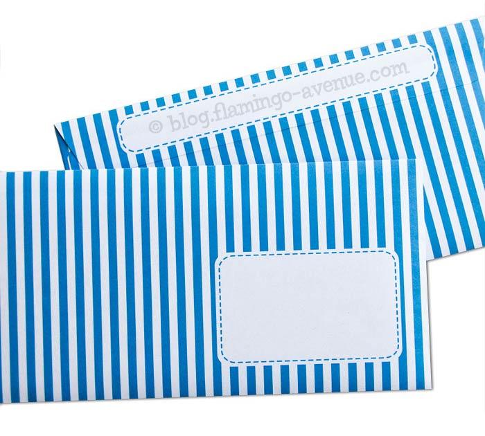 Blau-weiß gestreifte Briefumschläge von Joki Papierkram