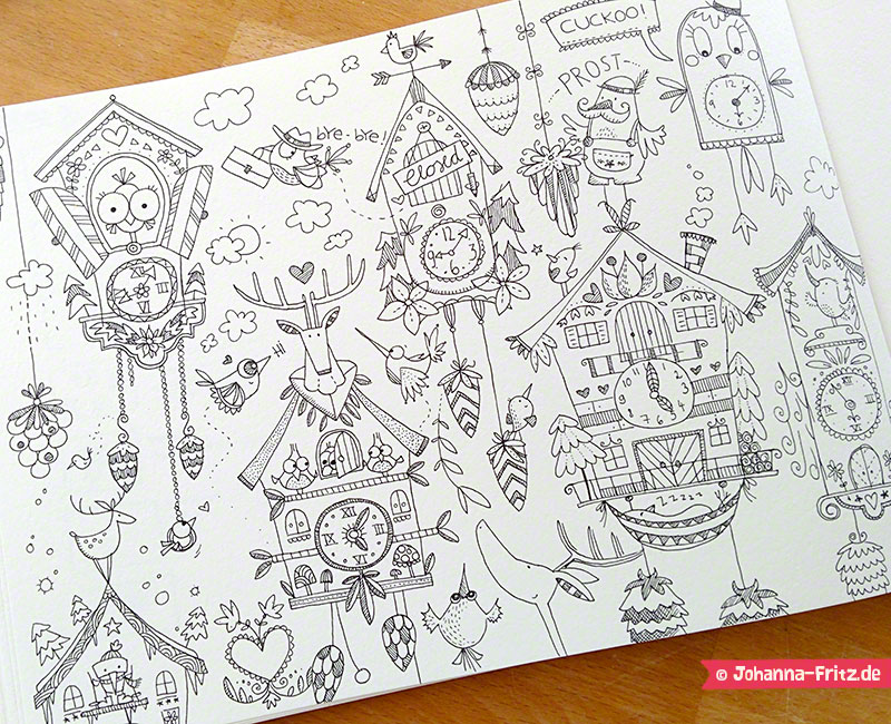 Cuckoo clock sketches by Johanna Fritz