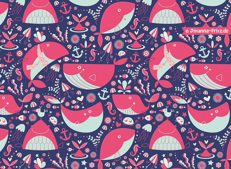 Whale pattern by Johanna Fritz