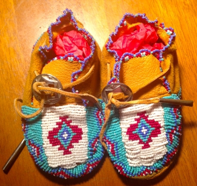 Handmade beaded baby moccasins