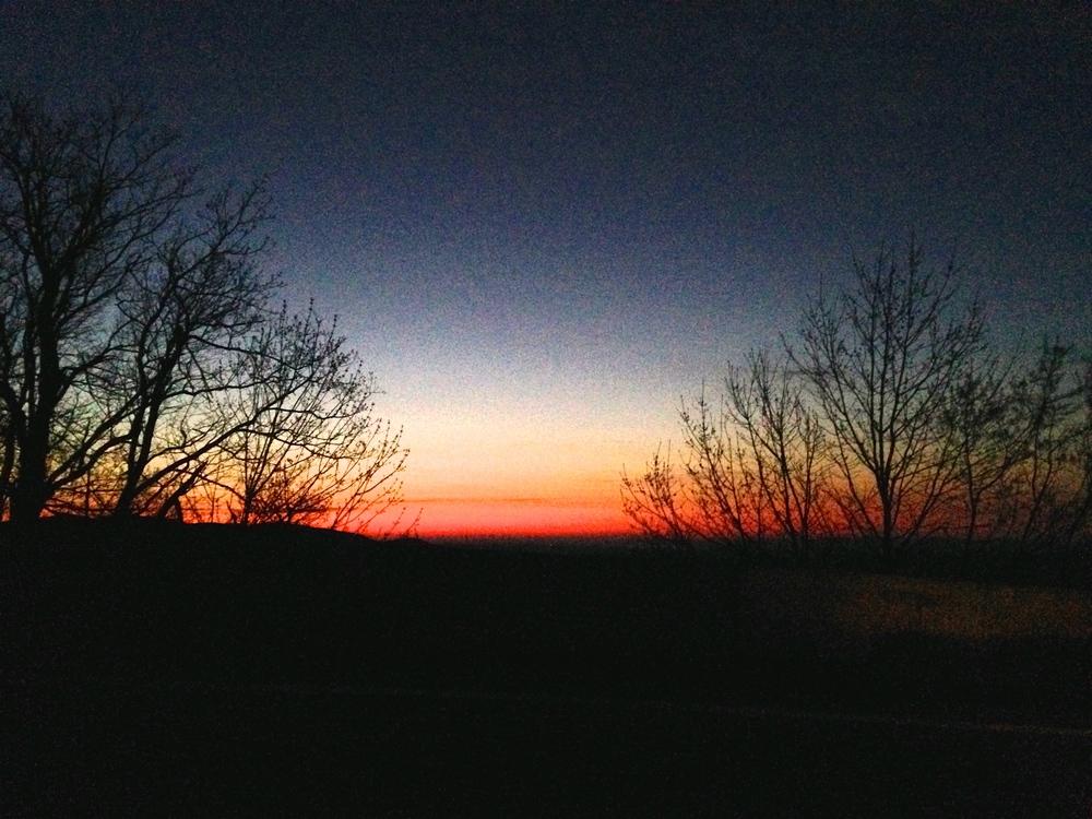 Dawn, driving down the mountain.