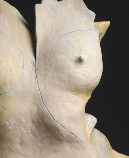 Nike. Front detail.  The shape is a young woman who is proud and not overtly sexual. The color yellow is willful; materials include marble dust, which is a remnant of the past, embedded in rabbit glue, which imparts speed and cleverness.