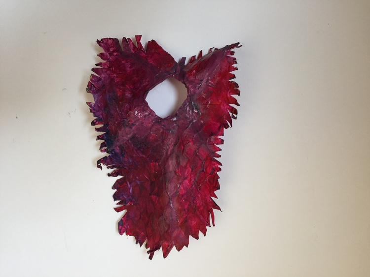 Santa Vittoria's Heart.  18 x 10 x 2.  Mixed Media- paper, wire, acrylic, oil..jpg