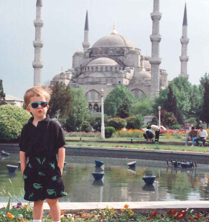 The author's son in front of the mosque in Edirne designed by Sinan, Suleiman the Magnificent's architect.