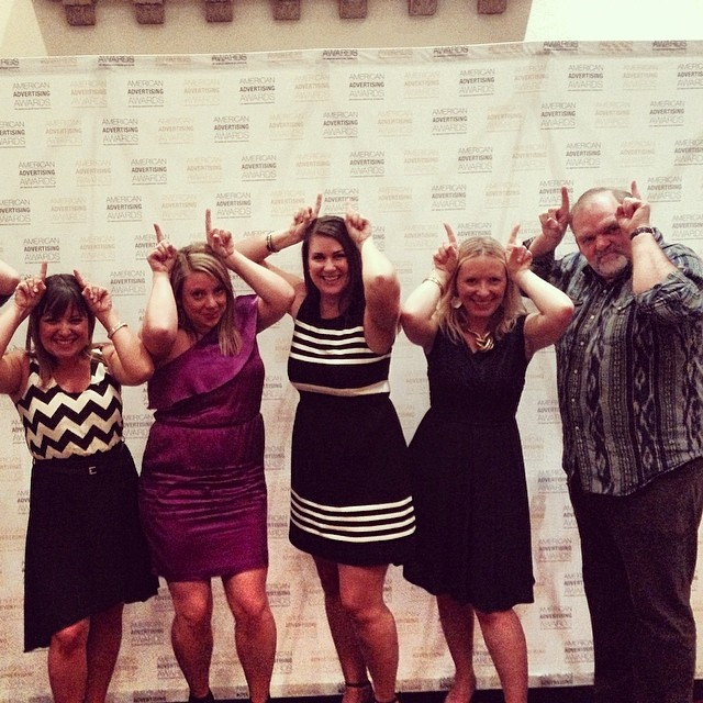 AAF Seattle board members show their District XI spirit. (L-R) Audrey Berglund (ADDYs), Kirsten Martin (Sponsorship), Renee Peterson (President), Christine Gammill (District XI Governor), and Martin McGee (VP/Treasurer).