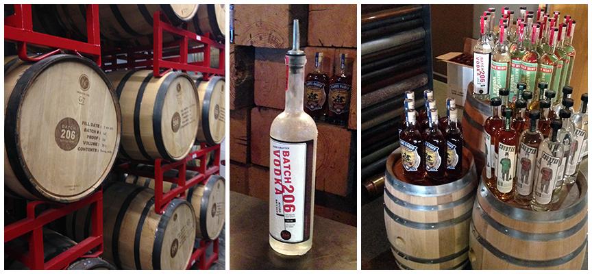 Barrels and bottles of Batch 206 liquors.