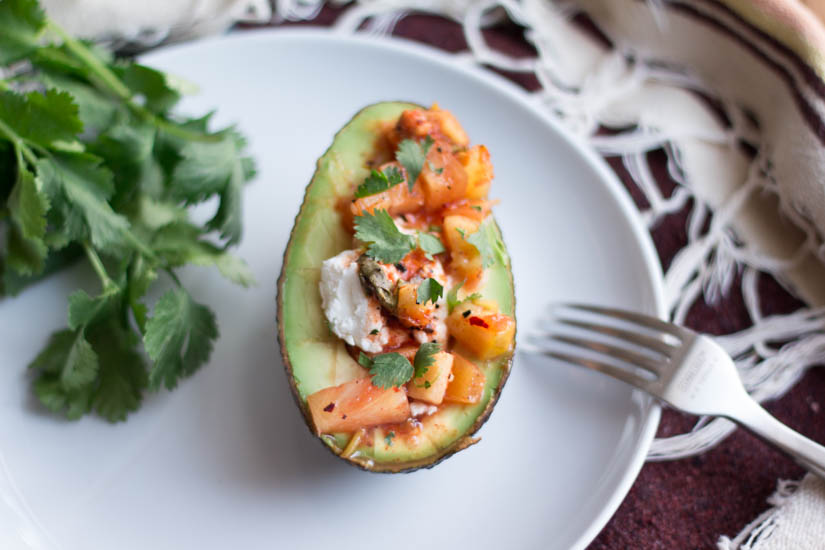 Avocado with goat cheese + mango sider
