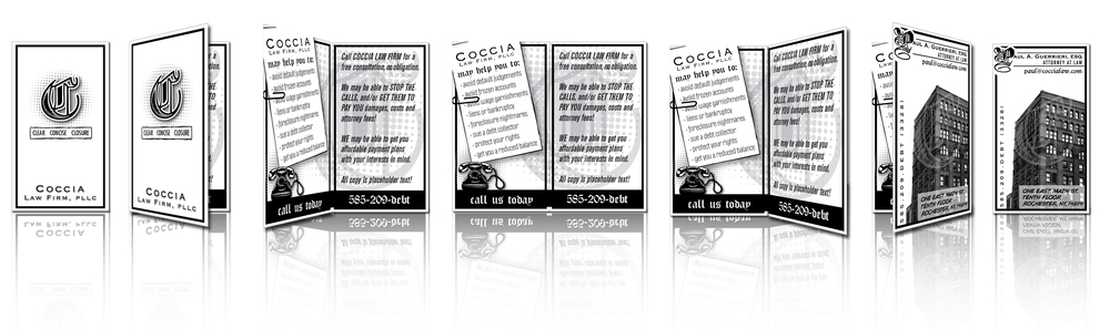 """panoramic"" unfolding of multi-sided business cards for Coccia Law Firm, PLLC. (Left to right) Front of card, centerfold, back of business card with contact info, personalized for each legal rep."