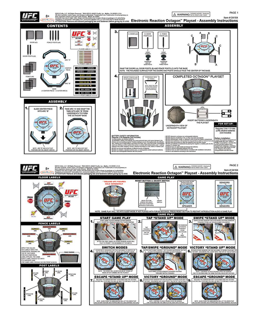 UFC Electronic Reaction Octagon Playset (Instruction Sheet)