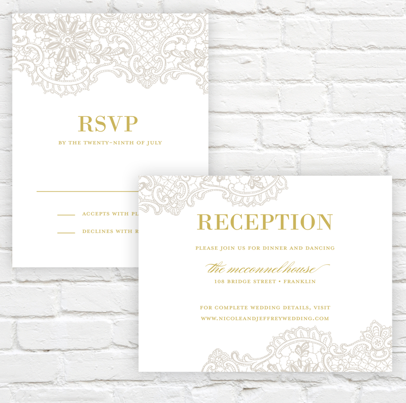 Lace Elegance Wedding Invitation by J. Amber Creative