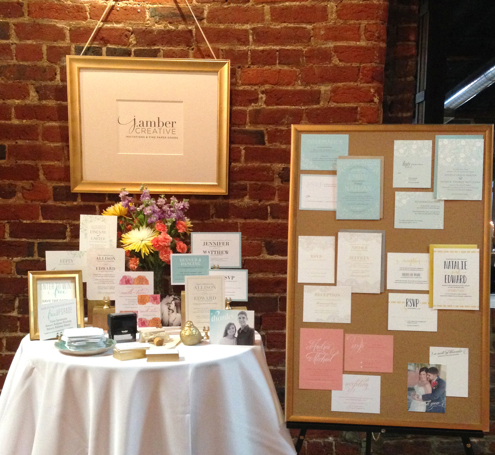 My table and a selection of the brand new wedding line from J. Amber Creative.