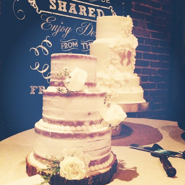 The cakes from The Frosted Affair - check out the little wooden silhouettes over there!  Photo courtesy of The Not Wedding Instagram.