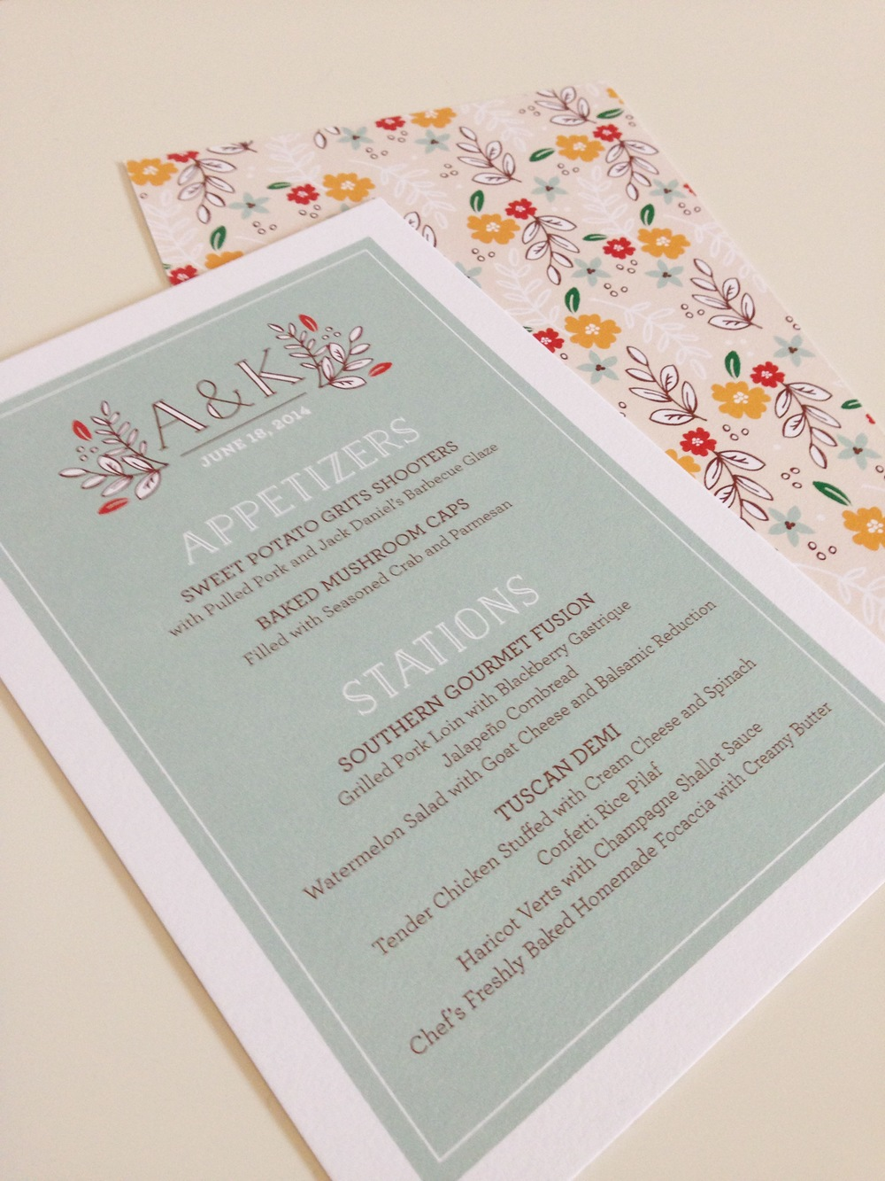 Up close and personal with the menus I created for the event on super-yummy cotton paper. See...the backs are where all the fun is going on!