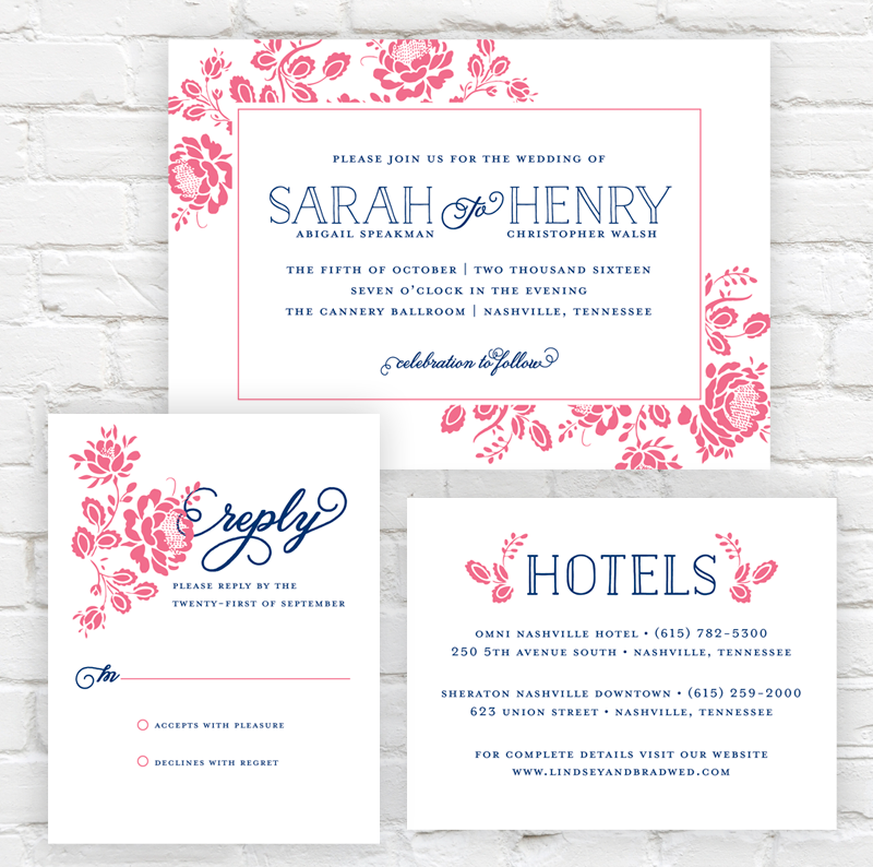 Floral Frame Wedding Invitation by J. Amber Creative - modern wedding invitations