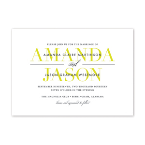 Neon Names Wedding Invitation by Jamber Creative