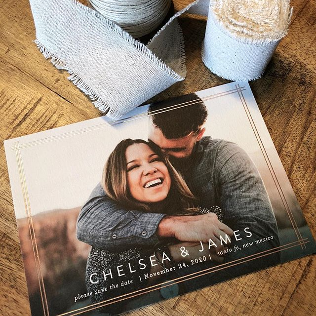Simple and classic - a foil border always makes a statement. #minted #mintedartist #savethedate #photocard #engaged #engagement #weddingideas #stationery #designer