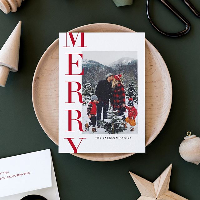 Every year, holiday stationery designers have a favorite design - one they hope everyone loves! This year, this is mine. When I created it, I honestly didn't love it and almost pulled it from my entries. But with a little help from some incredibly talented friends, I was able to make a few tweaks and finally love it! It's called Offset Merry and is available now @minted! #holidaycards #christmascard #minted #minteddesigner #snailmail