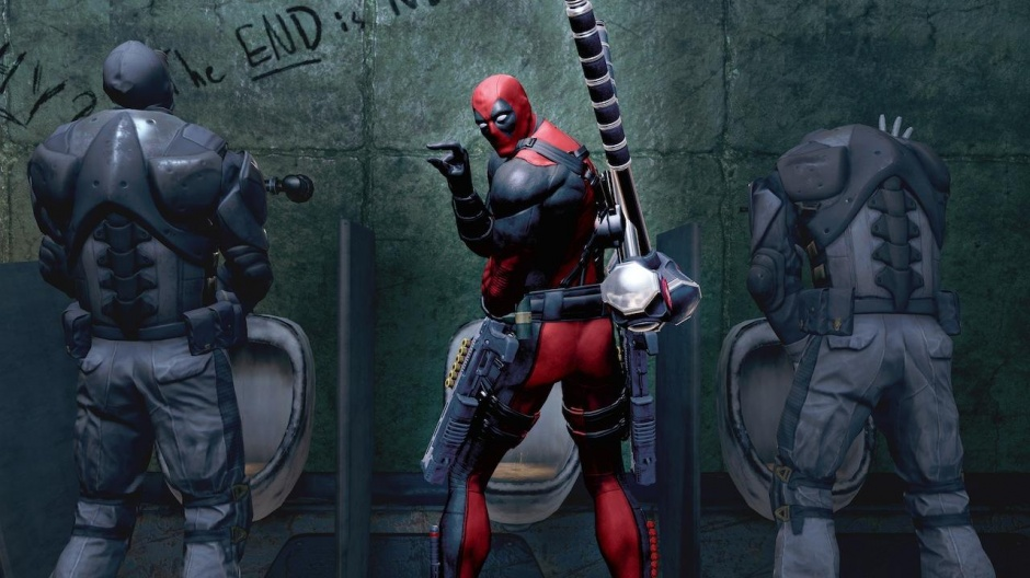 Actual screenshot. This happens in the game.  I've always wanted to take a piss as Deadpool.
