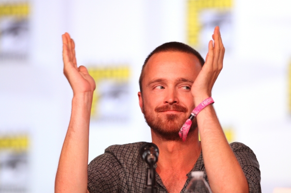 """Above: Aaron Paul demonstrates how big everyone seems to think his penis is ever since Breaking Bad became """"THE"""" television show."""