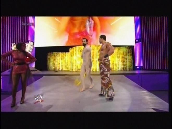 No Damien Sandow is not naked.  And if he IS naked then he is not anatomically correct.