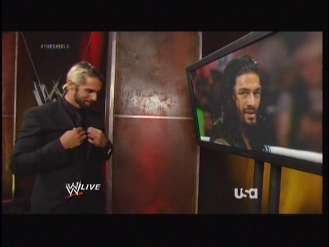 Suit Rollins looks eerily turned on by Roman Reigns.  CUE THE SLASH FANGIRL FANFICS.  Oh wait, there's like 5000 of those already on the Internet.  Sick bitches.