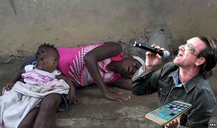 It's okay, little girl, your mother died of EBOLA and all, but here's Bono to sing you SONGS OF INNOCENCE.