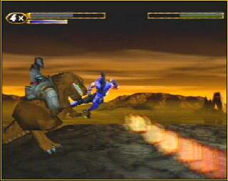 Yes. That is Sub-Zero jump-kicking a dinosaur.  Don't ask.